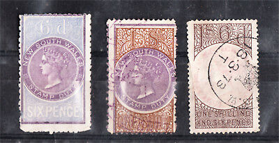 NEW SOUTH WALES QV LONG TYPE DUTIES 6d + 1/- + 1/6D used (f83)