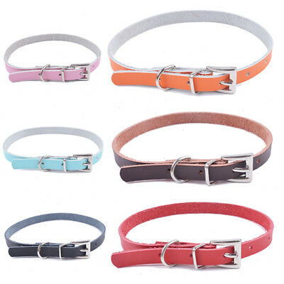 Genuine Leather Dog Cat Collar Durable Pet Necklace Small Puppy SuppliesXXS XS S