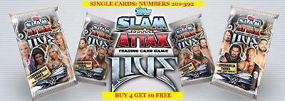 Topps Wwe Slam Attax Live Single Cards (2018) Numbers 201-392- Buy 4 Get 10 Free