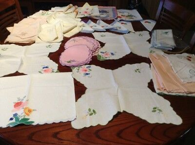 Bulk Lot Of Embroidered placemats & Serviettes Used And Unused.