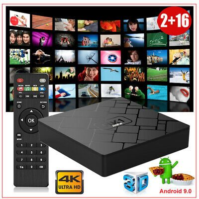 2+16GB Android 9.0 Pie Quad Core Smart TV BOX 2.4G WIFI HDMI 4K Media Movies 3D