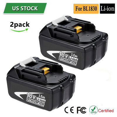 2x 18V 3.0Ah Lithium-Ion BL1830 Battery For Makita BL1840 BL1815 LXT 400