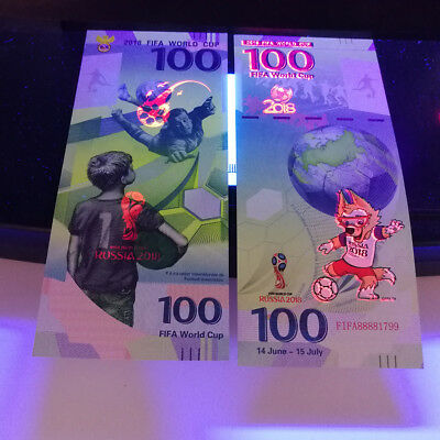 RUSSIA 100 rubles 2018 FIFA 18 WORLD CUP UNC Banknote Collection gift