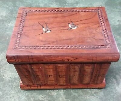 Vintage Sorrento Secret Compartment Wooden Jewellery Box Inlaid Banding