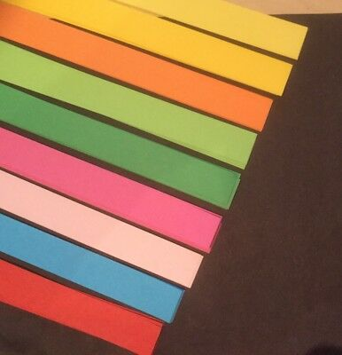 100 Strips ORIGAMI LUCKY STAR PAPER / 11 Colours Available 250mm X 10mm