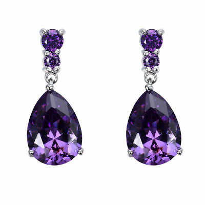 Natural Silver Plated Women Fashion Amethyst Gemstone Stud Drop Hoop Earrings