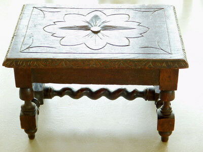 Antique French Oak Footstool Barley Twist Stretcher Hand Carved Petite