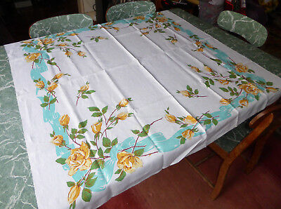 Vintage Yellow Rose Tablecloth