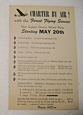 VINTAGE 1940's WWII HIBBING MINN ADVERTISING FOREST FLYING SERVICE AVIATION SIGN
