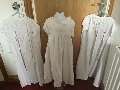 Four antique c 1890 / 1910 babies full length nightdresses for use / rework etc