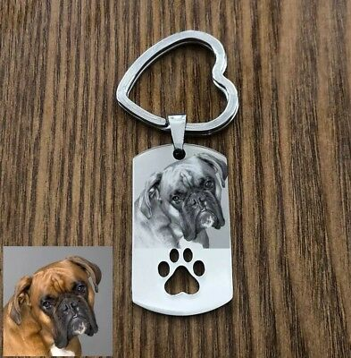 Cute Doggy Custom Photo Keyring Dog Lover Memorial Personalised Stainless Steel