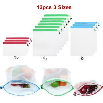 12pcs Reusable Mesh Produce Bags Washable Eco Friendly Bags Grocery Shopping
