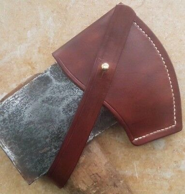 Leather  Axe Sheath / Cover. Hand Stitched. Brown.Adjustable strap