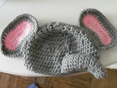 Baby or toddler crochet elephant hat and diaper cover set. 0-3 to 18 month sizes