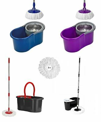 New 360° Spin Mop and Bucket Set Microfiber Rotating Heads With 2 Heads