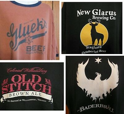 4 Craft Beer T Shirts XXL Brewing Ale Brewery - Used Condition