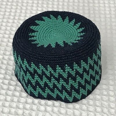 "Hand-crocheted Cotton 23"" Sturdy Mint Green Dk. Blue Zigzag Design Skull Cap Hat"