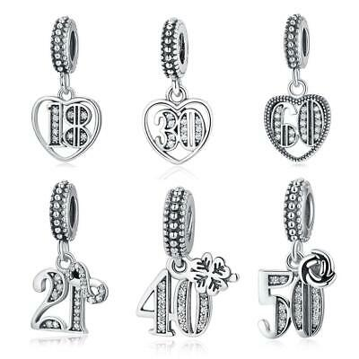 925 Sterling Silver 18th, 21st, 30th, 50th, 60th Birthday Pendant Dangle Charms