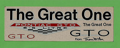VTG 1966 Advertising Pontiac GTO Thom McAn The Great One Decals My Last 1