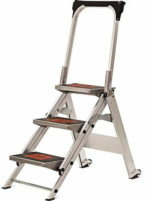 10310BA Little Giant Ladders 3-Step Capacity Silver Aluminum Foldable Step Stool