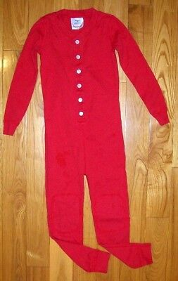 Hanna Andersson Boy's 1 Pc Red Button Front/drop Back Long John Pajamas 110 5
