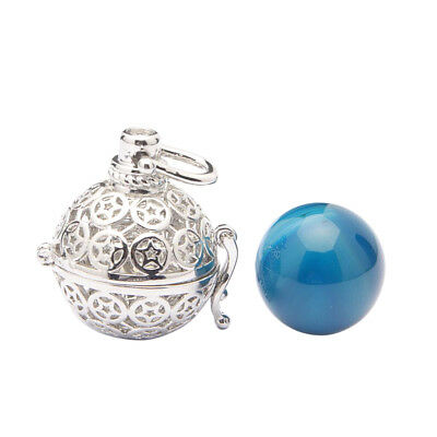 Women's Gemstone Pendant Wrapped Bead Natural Caged Pendant Jewelries Blue