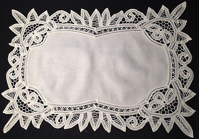 Two Old Vintage White Exceptional Battenberg Lace Trim Placemats Hand Made,