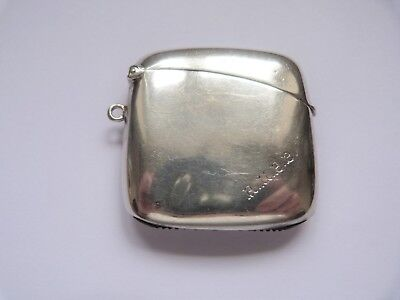 1913 - CHARLES S GREEN - SOLID SILVER - UNUSUAL SHAPED VESTA CASE - 38.8 grams