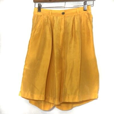 Vintage 80s Clio Womens Shorts Yellow Silk High Waist Elastic Waist Pleated S/M