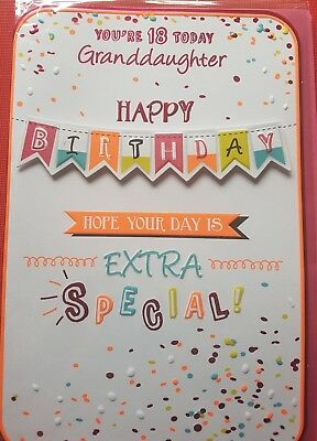 Happy age 18th Birthday Granddaughter Grandaughter card banner  double verse
