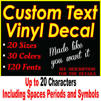 CUSTOM Vinyl Lettering Decal Personalized Sticker Window Wall Gloss Vehicle Text