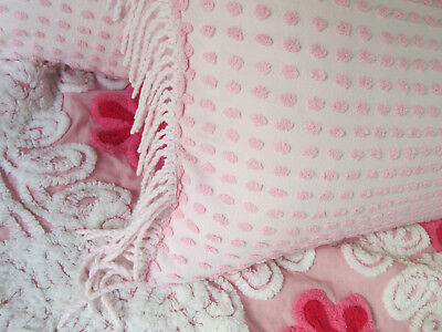 Vintage chenille cottage chic pillow sham with fringe pale pink 12 x 16
