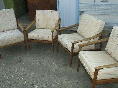Vintage Dux Furniture 4 Matching Lounge Chairs By Folke Ohlsson Ca. 1960s