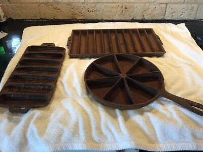 Lot of 3 Vintage Cast Iron Cornbread pans, Corn, Griswold Stick and Wedge patent