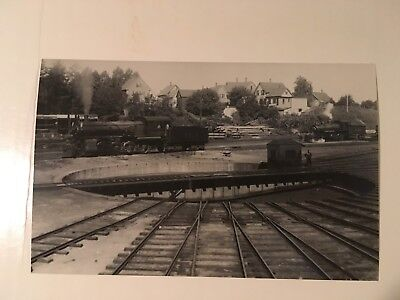 Vintage photo Boston & Maine Railroad  round house Woodsville NH view 2