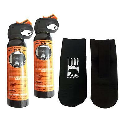Lot (2) UDAP 30ft 7.9oz Bear Pepper Spray/Repellant/Deterrent w/ Holster - 12VHP