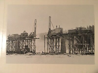 Vintage photo Boston & Maine Railroad pile driver booms loco 701 Bridgewater NH