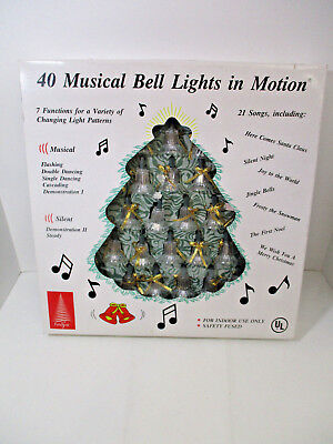 Vintage Foremost 40 Musical Bell Lights In Motion Christmas 21 songs WORKS W/BOX