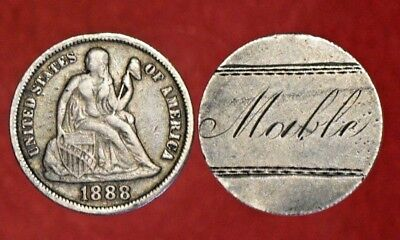 """1888 Seated Liberty Silver Dime 10C! >>""""MOUBLE"""" LOVE TOKEN!<<<>>> SEE OUR STORE!"""