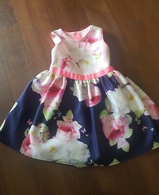 TED BAKER girls floral print summer dress age 3-4 USED CONDITION