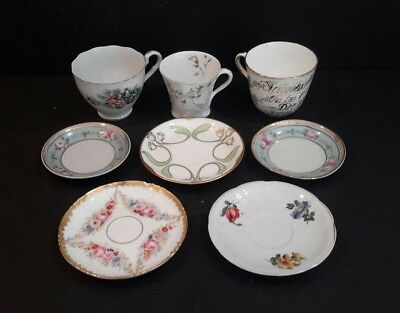 A collection of antique & vintage Cups and Saucers - mismatched