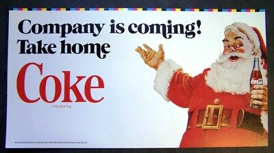 "Vintage Coca-Cola Santa Claus Store Sign ""Company is coming! Take home Coke"""