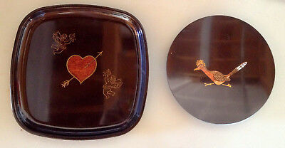 Couroc of Monterey Pair of Trays Wood Inlay Heart & Angels / Roadrunner