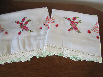 Vintage Pair of Pillowcases Embroidered Crocheted Blue Birds Aster Garlands Wow