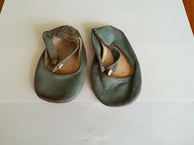 Baby shoes Victorian antique Leather blue/green vintage condition Doll shoes