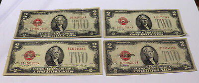 LOT OF 4 -1928 $2 Dollar Bill Red Seal Note Paper Money