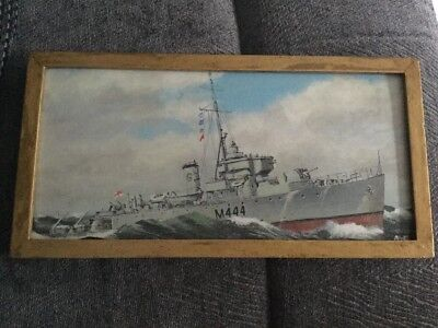 Hand Painted Original Hms Michael Picture By Awg Malaya 6th Minesweeper Flotilla