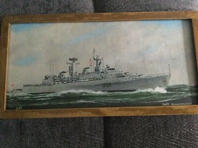 Hand Painted Original Hms Hampshire Picture By Awg