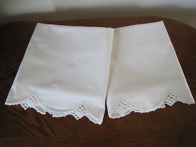 Vintage Pair of Pillowcases All White & White Fancy Crocheted Trim Exquisite