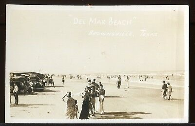 Real Photo Postcard Rppc 1920's View Of Del Mar Beach Brownsville Texas